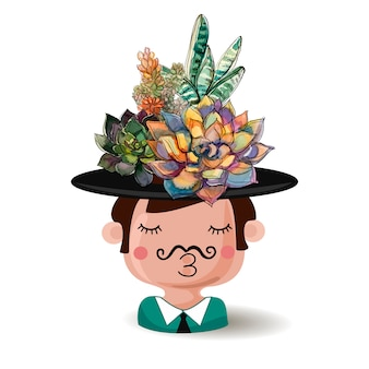 Menino do potenciômetro de flor em um chapéu com um ramalhete das plantas carnudas.
