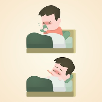 Menino doente criança deitada na cama com um termômetro
