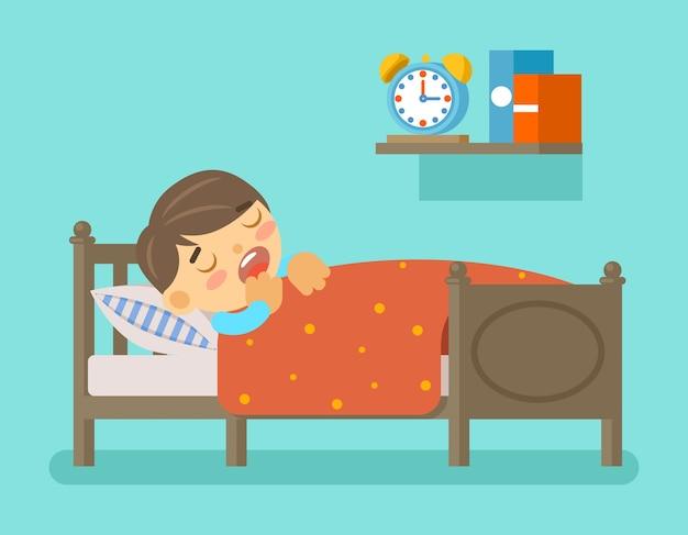 Menino dormindo na cama. hora de dormir e quarto com criança pequena