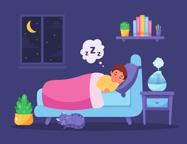 Menino dormindo no quarto com umidificador de ar. sono saudável