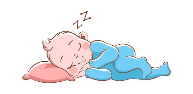 Menino dormindo. recém-nascido feliz fofo de pijama azul, criança de desenho animado isolado em um travesseiro macio