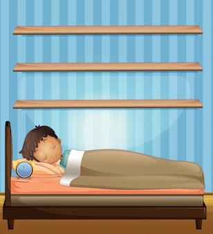 Menino, dormir, em, quarto