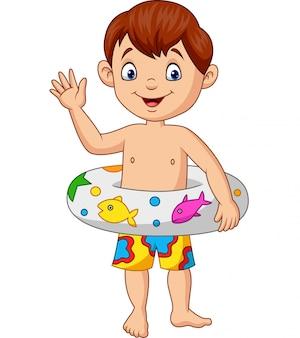 Menino dos desenhos animados com anel inflável