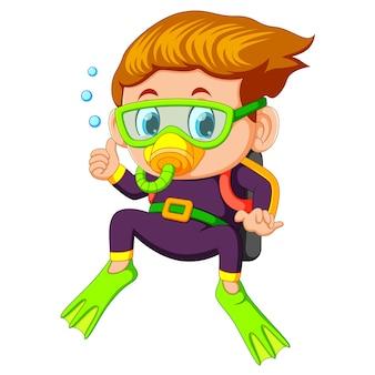 Menino dos desenhos animados de mergulho