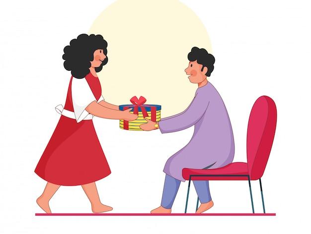 Menino dos desenhos animados e uma menina segurando uma caixa de presente no fundo branco.