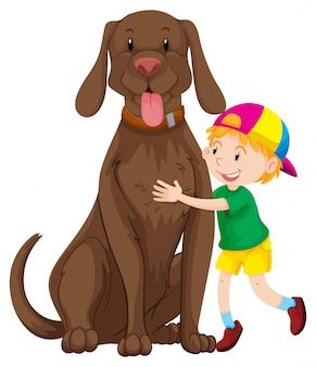 Menino e cachorro grande