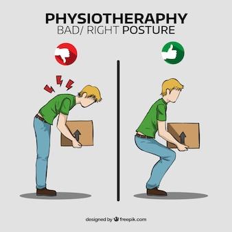 Menino e correta e incorreta postura corporal