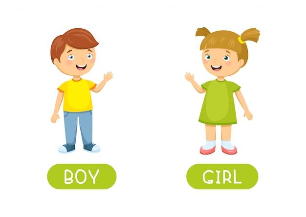 Menino e menina antônimos de vetor e opostos. ilustração de personagens de desenhos animados