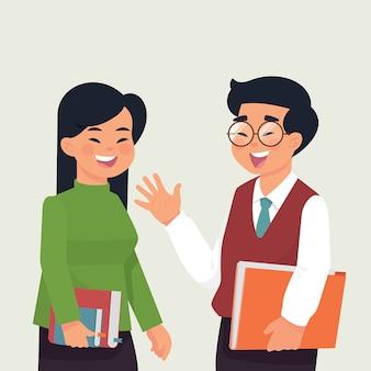 Menino e menina asiática estudante