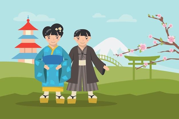 Menino e menina asiáticos em trajes nacionais sorrindo
