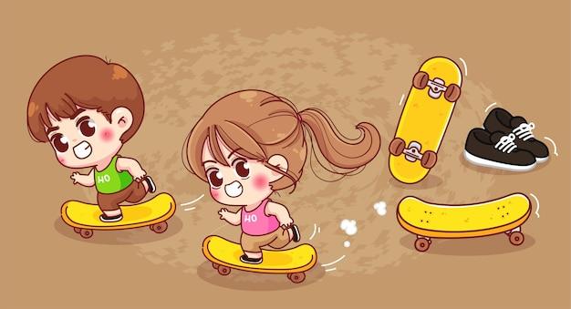 Menino e menina bonitos brincam com ilustração de desenho animado de skate