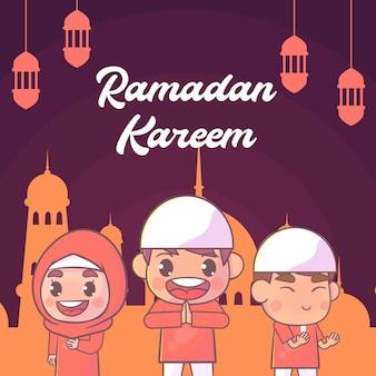 Menino e menina bonitos cumprimentando ramadan kareem islâmico