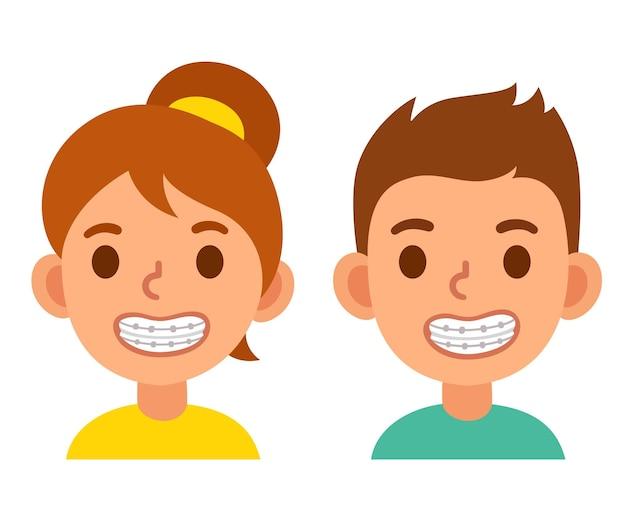 Menino e menina bonitos dos desenhos animados com aparelho dentário crianças sorridentes com tratamento dentário