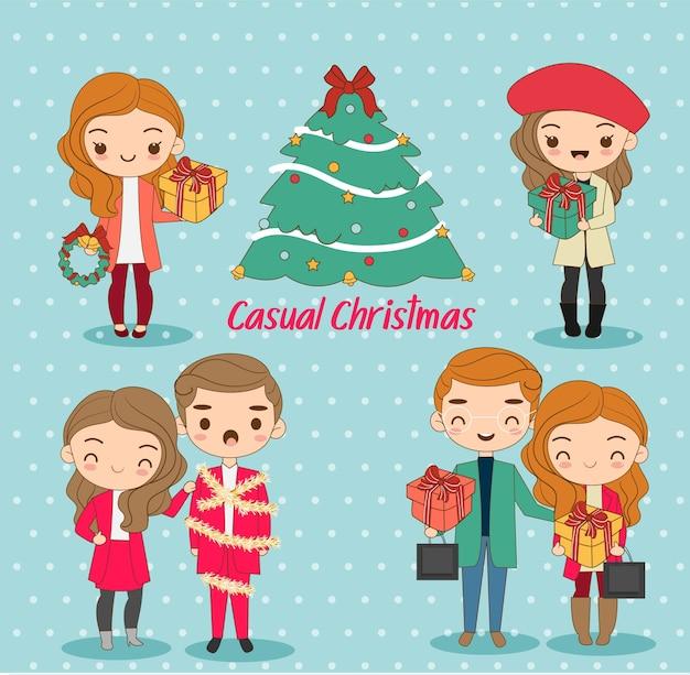Menino e menina bonitos em vestidos casuais para o feriado de natal