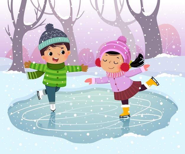 Menino e menina bonitos patinando no gelo em paisagem de inverno com neve
