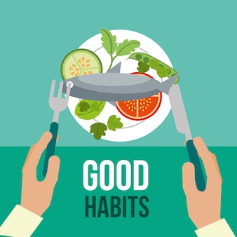 Menino e menina bons hábitos saudáveis