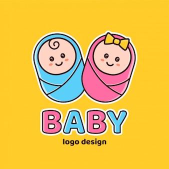 Menino e menina. chá de bebê, logotipo recém-nascido