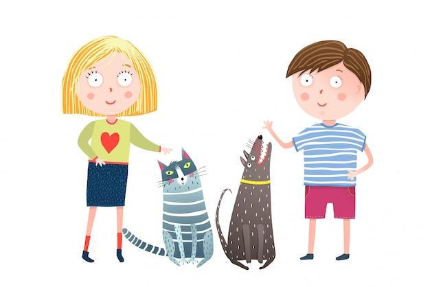 Menino e menina com cachorro e gato