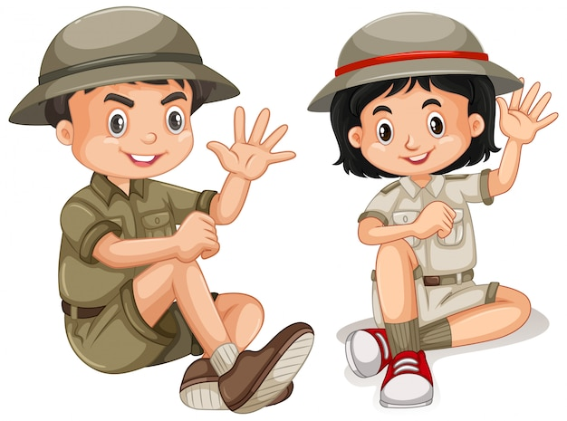 Menino e menina com roupa de safari isolada