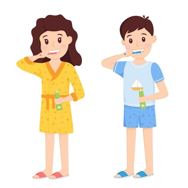 Menino e menina com roupas de casa escovando os dentes