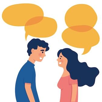 Menino e menina como um casal conversar um com o outro com palavras de bolha