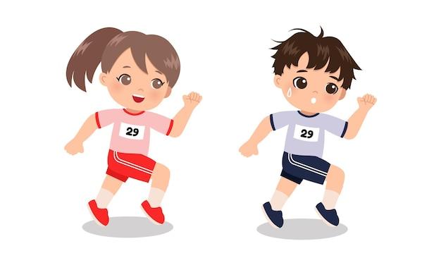 Menino e menina correndo com uniforme de treinamento escolar. desenho plano dos desenhos animados isolado no branco