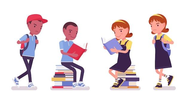 Menino e menina da escola lendo livros, sentados