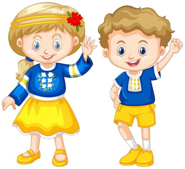 Menino e menina da ucrânia