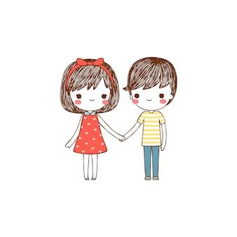 Menino e menina de mãos dadas em estilo simples