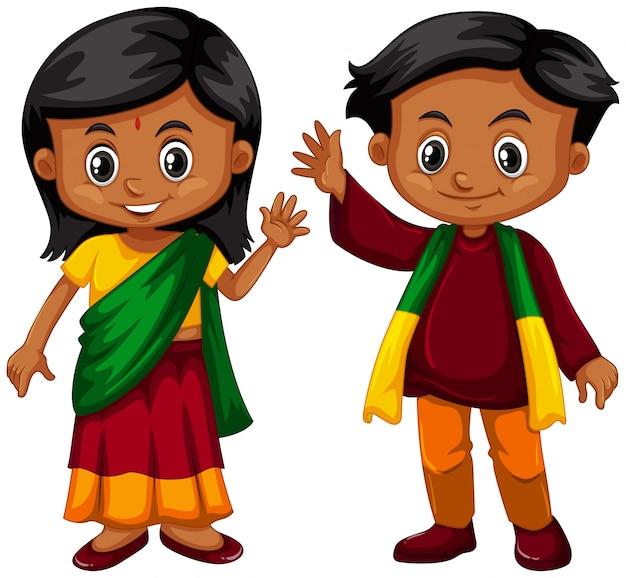 Menino e menina de srilanka