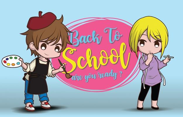 Menino e menina de volta ao modelo de escola.