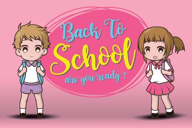 Menino e menina de volta para a escola. você está pronto?