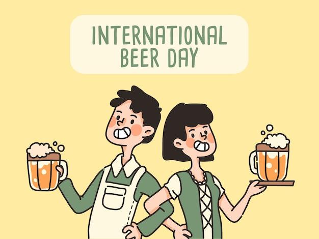 Menino e menina dia internacional da cerveja celebração bonito dos desenhos animados segurando cerveja bebida alcoólica