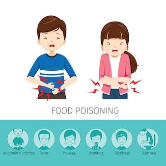 Menino e menina dor de estômago devido à intoxicação alimentar
