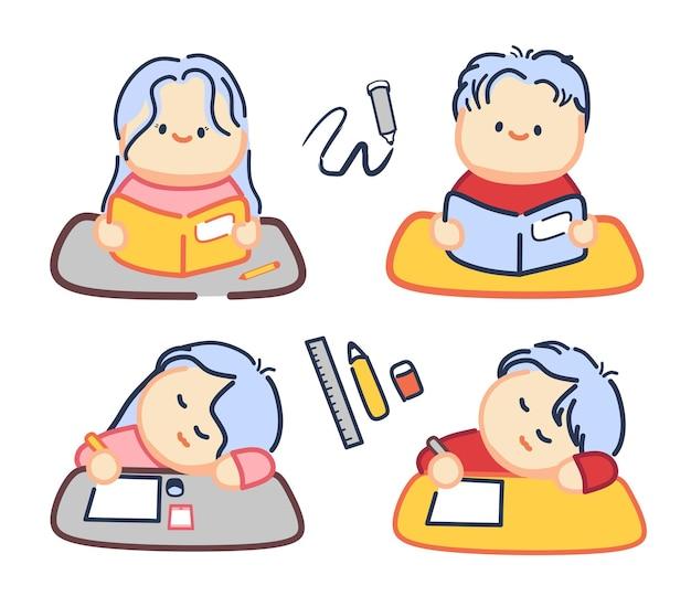 Menino e menina dormindo e estudando em casa ou na escola
