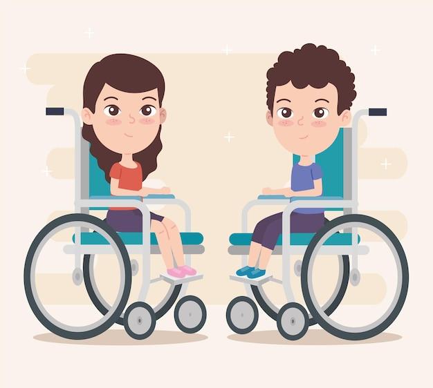 Menino e menina em cadeira de rodas