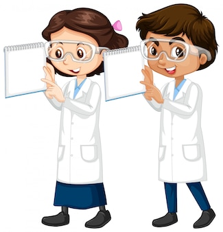 Menino e menina em ciência vestido segurando notas