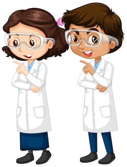 Menino e menina em pé de vestido de ciência