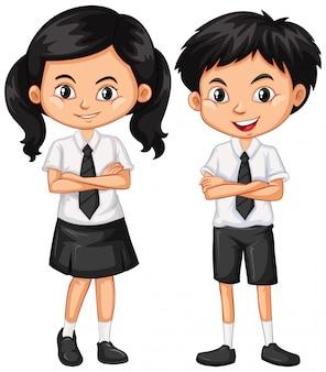 Menino e menina em uniforme escolar