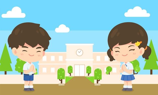 Menino e menina estudante em posto de respeito