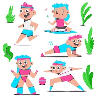 Menino e menina fazendo exercícios de ioga e fitness ao ar livre com personagens de desenhos animados