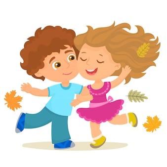 Menino e menina feliz em um dia de outono