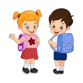 Menino e menina felizes da escola com mochila