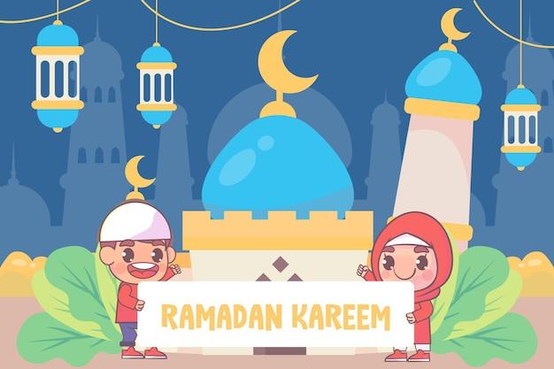 Menino e menina fofos cumprimentando ramadan kareem
