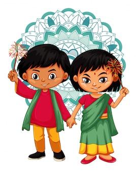 Menino e menina indianos com design de mandala