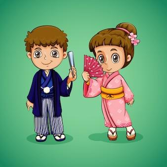 Menino e menina japonesa