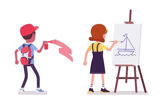 Menino e menina na escola, pintando com spray, desenhando com cavalete