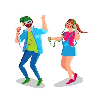 Menino e menina ouvindo música e dança