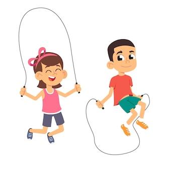 Menino e menina pulando corda.