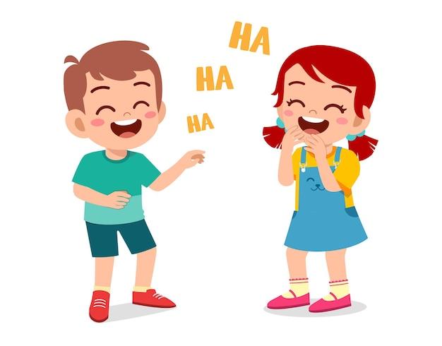 Menino e menina rindo juntos Vetor Premium